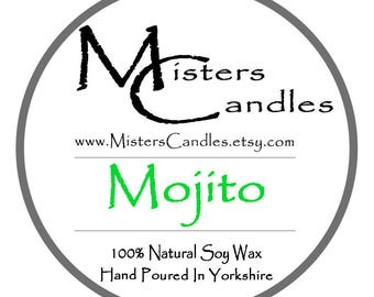 Mojito 8oz 100% Natural Soy Wax Scented Candle - 30 hour burn time. Birthday Present, Gift for her