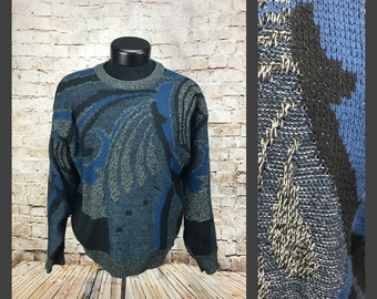 Medium - Saturdays Blue and Black 80's 90's Knitted Sweater - Men's Size Medium vintage mens sweater - cosby sweater