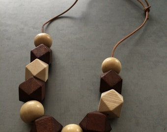 Wooden Necklace-brown and cream -Geometric Jewelry