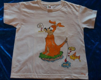 5/6 years child T-Shirt pattern hand-drawn, dog Fisher of os