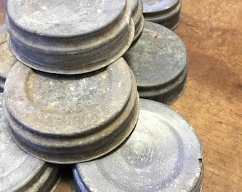 Set of 9 Vintage Zinc Ball Jar Lids