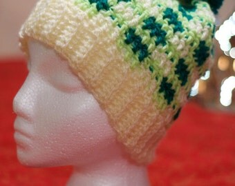 Childs 8-12 Yr Old - Handmade Slouch Hat Green Plaid, with Pom Pom