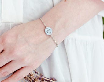 Gepersonaliseerde Armband, Fimo Klei, Graniet Print, Initialen, Handgemaakt, Monogram Armband, Cadeau voor haar, Uniek Cadeau