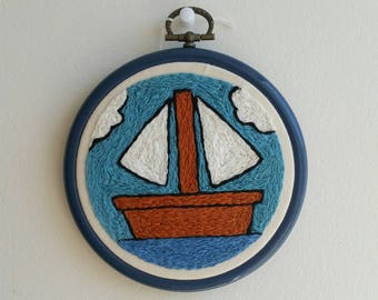 The Simpsons Boat Painting - Hand Embroidered Embroidery Hoop