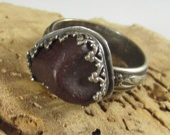 Volcano Pebble Ring - Brown Obsidian in Sterling Silver