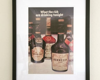 Framed 1970s Hennessey Whiskey Magazine Ad 32.5x40cm (12.8x15.7inches)