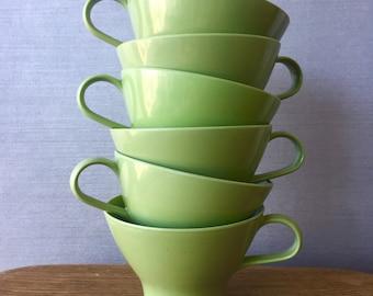 Set of 6 Green Bessemer Melmac Picnic cups 1970s