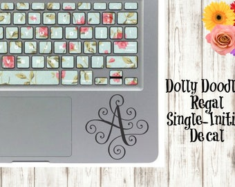 "4"" Regal Single-Initial Vinyl Decal - Swirly Initial Decal"