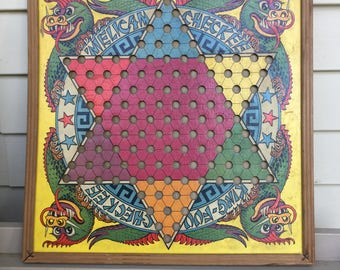 Vintage Retro 1938 King-Fuu King-Foo Checkee 'Melican Checkee CHINESE CHECKERS board made in Detroit, MI