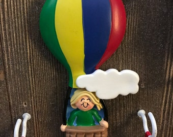 Personalized air balloon Christmas ornament
