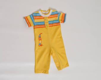 baby boy yellow vintage romper 70s / 80s