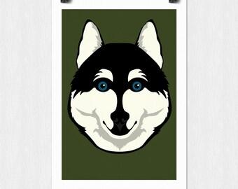 Siberian Husky Vector Art Print - Instant Download 11x17