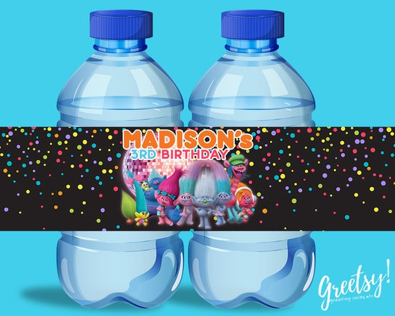 Trolls Water Bottle Labels Personalized