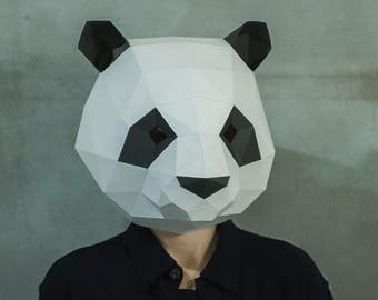 Make Panda Mask,DIY 3D Mask,PDF,Pattern Mask,Polygon Paper Mask