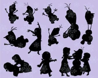Disney Silhouette Frozen Olaf  SVG cutting ESP vector instant download