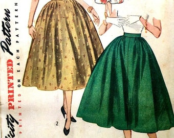 "Vintage 1950's Sewing Pattern Rockabilly Full Circle Skirt Swing W 24"" H 33"""