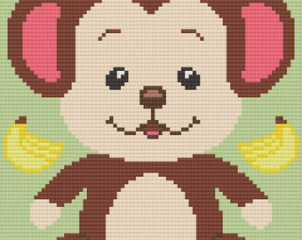 Monkey C2C Crochet Afghan Blanket Pattern