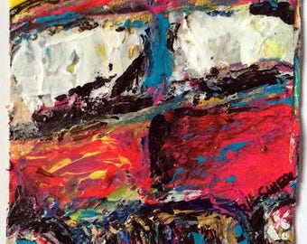 Small Automotive Painting - Vehicles & Buildings Collection - ACEO Painting - Little Cars