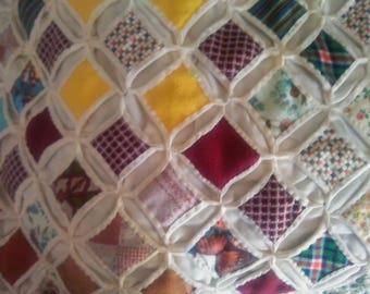 Vintage Handmade Diamond Quilt (Full)