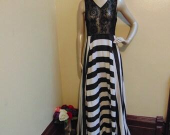 Lace Stripes Long Dress