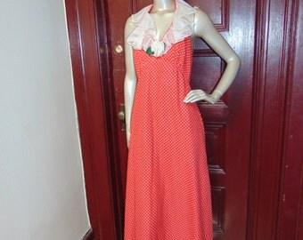 Red and White Polka Dot Halter Dress