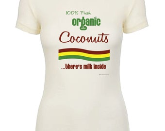 100 % Organic Coconuts There Milk Inside Graphic Tee Men's T-shirts Womens Fitted Soft Tee Great Gift Unique Breastfeeding Nursing
