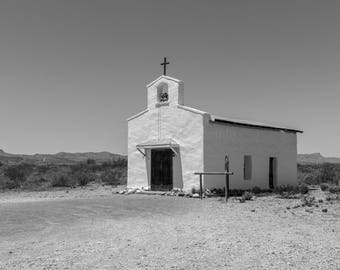 West Texas Calera Chapel Black And White  Fine Art Print