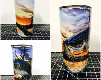 Bass Fishing Custom Yeti 20 30 RTIC Cup Fully Wrapped