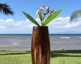 Hawaiian Koa Wood Bud Vase - 9 in (23cm) tall