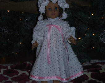 18 inch doll nightgown and cap