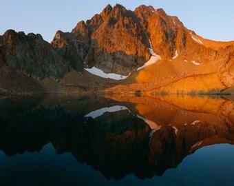 Mountain Landscape Photography, Morning Sunrise Light, White Clouds Mountains, Fine Art Photography, Idaho State, Alpine Lake Reflection