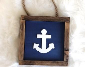 Blue and White Wooden Anchor Sign, Baby Boy Room Decor, Navy Nursery, Nautical Bathroom, Anchor Decor, Nautical Nursery, Baby Shower Gift, N