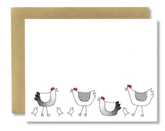 Spring Hens + Chicks Horizontal - A2 Card (Single or Set of 5)