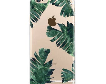 Tropical Leaves iPhone 7 transparent case, iPhone 6 case, Banana Leaves iphone 6s plus case transparent clear case