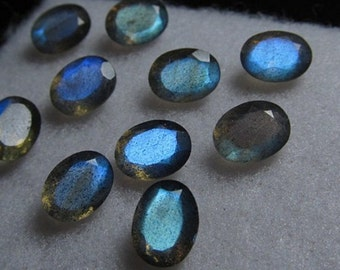 Lot of 25 pcs. natural blue flashy Labradorite oval cut faceted loose gemstone with free shipping