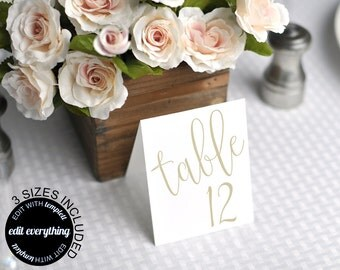 Gold Wedding Table Card Template - Printable Table Cards - Wedding Table Number Cards - Gold Wedding Table Numbers - Three Sizes included
