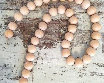 Farmhouse Decorative Wooden Beads. Wooden garland. Wooden beads. Farmhouse decor.