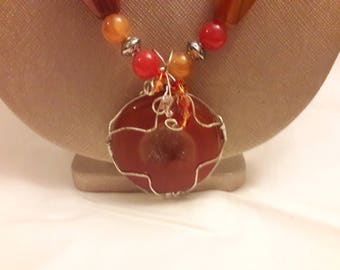 """Wire-wrapped Agate pendant on 28"""" beaded Agate and silver chain necklace"""