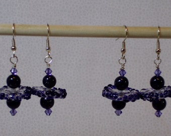 Dark purple dangle earrings