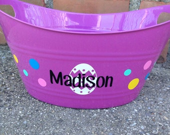 Personalized Easter Basket|Plastic Easter Bucket|Personalized Storage Bucket|Oval Bucket with Handles|Personalized Gift Basket