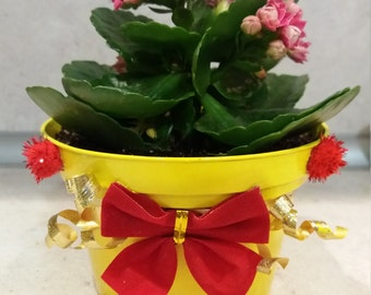 Yellow pot for flowers with red ribbon-handmade