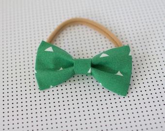 Green and White Triangle Bow Headband