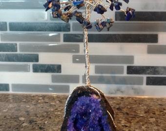Blue Geode Wire Tree