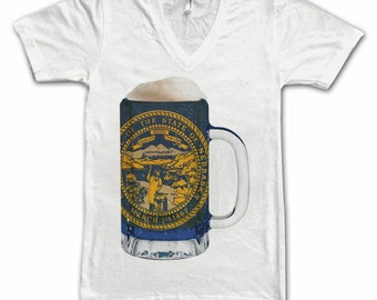 Ladies Nebraska State Flag Beer Mug Tee, Home Tee State Pride, State Flag, Beer Tee, Beer T-Shirt, Beer Thinkers, Beer Lovers Tee