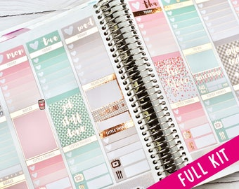 Erin Condren Weekly Kit, Pink and Mint, Foil Stickers, Rose Gold Foil, 5 Sheet Weekly Kit