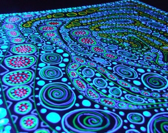 The green universe psychedelic abstract painting chaos spirals bubbles dots paint droplets trippy blacklight art
