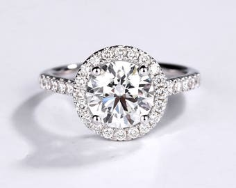 Antique Engagement ring Vintage Women Wedding Moissanite Halo Diamond Bridal set Jewelry Half eternity Promise Anniversary gift for her