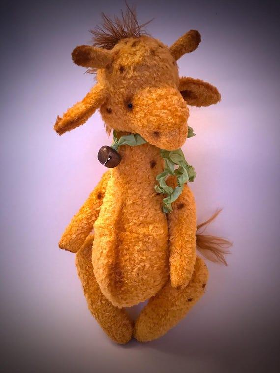 Handmade OOAK giraffe, teddy,nursery decor, plush giraffe, viscose, large size, animal nursery theme