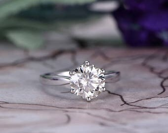 6.5mm Round Cut Moissanite Engagement Ring,14k White Gold,Anniversary ring,Promise ring,Solitaier Ring,Prong Setting,Plain Band,Gift for her
