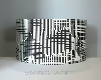 Geometric lampshade high quality fabric designed and printed in England, handmade by vivid shades, funky graphic pattern custom made ceiling